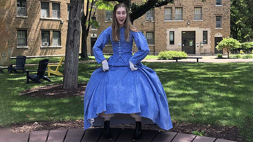 Megan Hoppe '21 in the 1865 dress she made