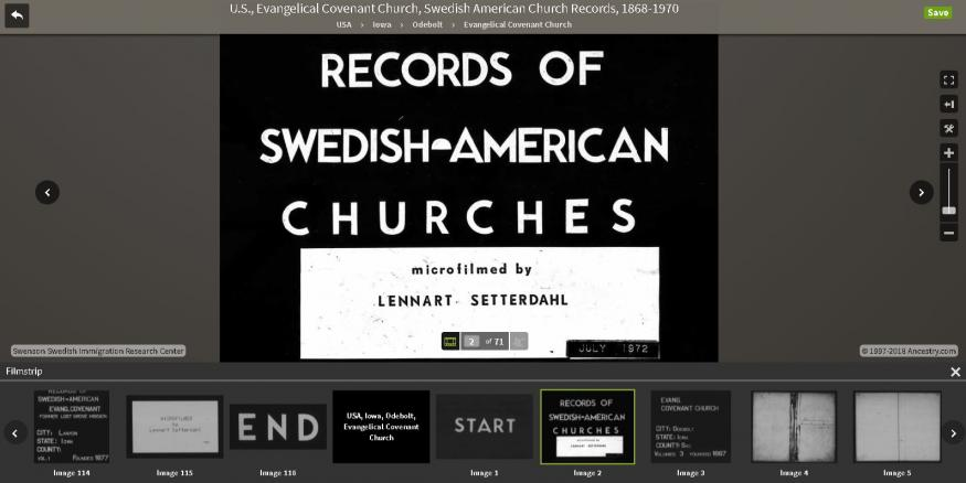 Swedish-American church records on microfilm